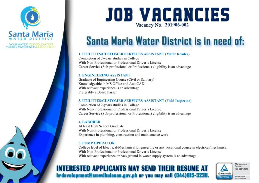 Job Vacancies | Santa Maria Water District